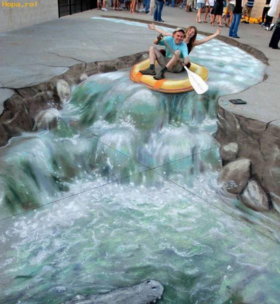 Amazing Illusion Of Water Stream Running Through A Public Park