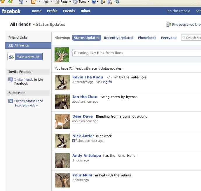 10 Funny Facebook Status Updates