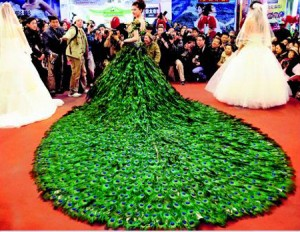 Entertainment and fashion trends for Peacock feather wedding dress vera wang 2009