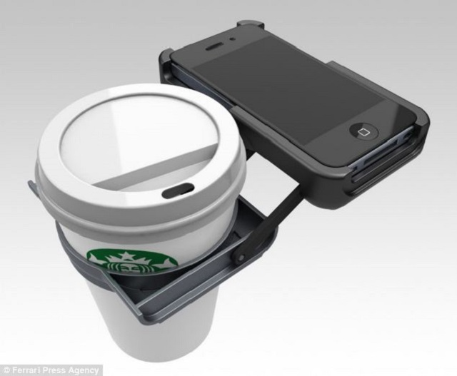 The iPhone Case with an attached Cup holder